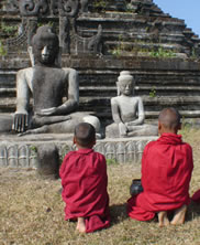 Boy monks at temple in Mrauk U