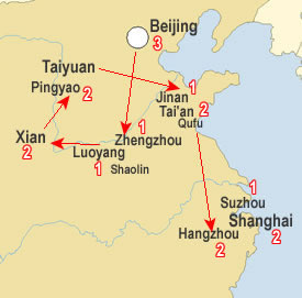 Route map, Ancient China tour