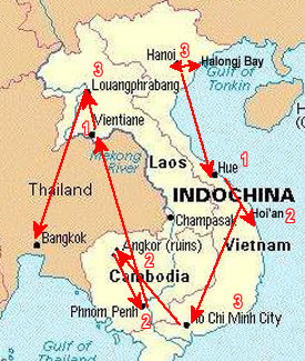 Route Map, Indochina Grand Tour