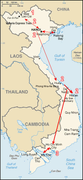 Route maap, Vietnam World Heritage Tour