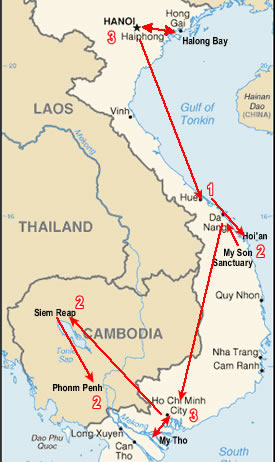 Route map, Vietnam and Cambodia tour