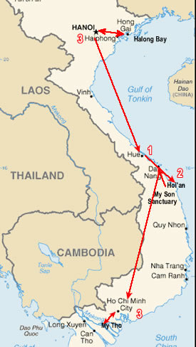 Route map, Vietnam Discovery Tour